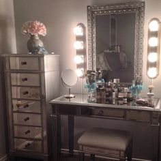 vanity set with stool and lighted mirror. Exactly what I want mirror lighting mirrored storage dresser next to  Only a pretty stool And organizer IKEA tubs airy wall colors lightest blush pink How DIY Your Dream Vanity Diy vanity Vintage and Vanities