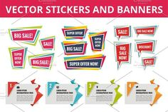 Stickers and Banners - Vector Set by serkorkin on @creativemarket