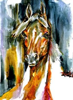 Arabian Horse- Watercolor Fine Art Horse Print SIGNED by the Artist Carol Ratafia DOUBLE MATTED to 16x20