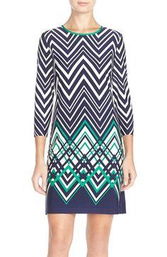 Eliza J Chevron Jersey Shift Dress (Regular & Petite) available at #Nordstrom