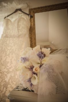 Brides flowers and dress