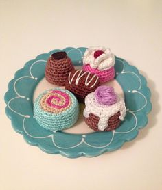 Five different types of petit fours and chocolate bonbons. Free crochet pattern