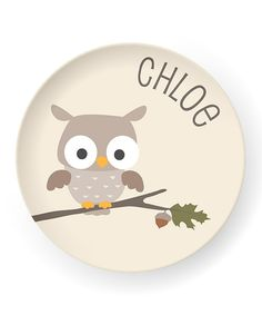 Owl Personalized Plate | Daily deals for moms, babies and kids