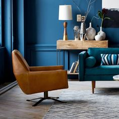 Sit and stay a while in this lush blue room. The swivel base and modern lines on the Lucas give it an urban and industrially-cool look, with a reclined pitch that's a warm welcome.