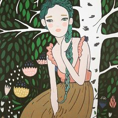 Girl by the birch. Birch, Disney Characters, Fictional Characters, Snow White, Disney Princess, Illustration, Inspiration, Art, Biblical Inspiration