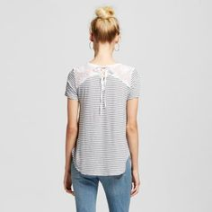 Women's Lace Up Back Stripe Pocket T-Shirt - Hint of Mint (Juniors')