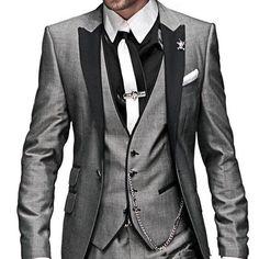 Morning Style Grey One Button Groom Tuxedos Best Man 2 Styles for Groomsmen Men Wedding Suits Bridegroom (Jacket+Pants+Tie+Vest)