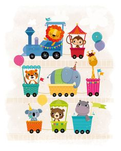 All aboard the animal train! Nursery art  This contemporary art print would make a lovely addition to any nursery or childs playroom, it