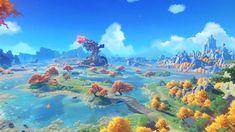 Anime Scenery Wallpaper, Landscape Wallpaper, Wallpaper Pc, Computer Wallpaper, Fantasy Landscape, Fantasy Art, Estilo Anime, Environment Concept Art, Breath Of The Wild