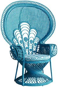 peacock chair - turquoise, white, natural, yellow, black & red