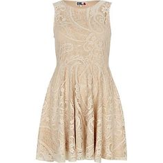 embrace spring's favourite lace texture with this cream chelsea girl lace sleeveless skater dress  £28.00