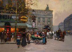 Caf de la Paix, Paris by Edouard Cortes. Post-Impressionism. cityscape