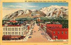 Ogden Utah 1938 Town 25th Street East Collectible Antique Vintage Postcard