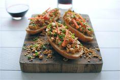 Open-Faced Thai Peanut Chicken Sub Sandwiches | Bev Cooks