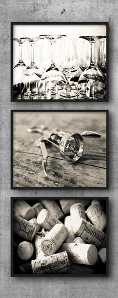 Rustic Wine Set - Corkscrew Glasses Corks Set of 3, Black and White Photography, Three Kitchen Photos, Dining Room Prints, French Pictures