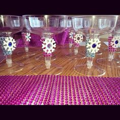 Frozen decorated drinks glasses frozen party ideas