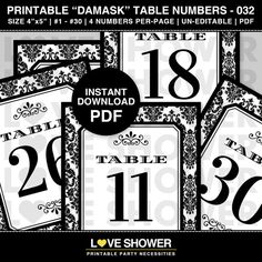 1  30 Printable DAMASK Table Numbers  Wedding  by LoveShower Damask Wedding, Name Wall Art, Ticket Invitation, White Damask, Wedding Dinner, Letter Size Paper, Wedding Table Numbers, Backdrops For Parties, Art Wall Kids