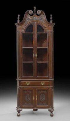 c1890 Colonial Revival corner cabinet, mah, 36w, 13-2,6.