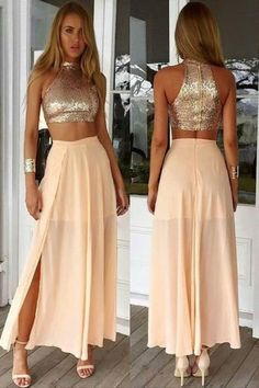 Cheap Prom Dresses 2017 Crop Top Sparkly Two Piece Champagne Sequins Long Prom Dress With Side Slit Two Piece Homecoming Dress, Prom Dresses Two Piece, Prom Dresses 2016, Prom Dresses For Teens, Cheap Evening Dresses, Formal Dresses For Women, Two Piece Dress, Cheap Prom Dresses, The Dress