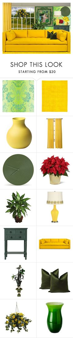 """""""Happy Flowers Yellow!"""" by nefertiti1373 ❤ liked on Polyvore featuring interior, interiors, interior design, home, home decor, interior decorating, Designers Guild, Chopra Center, Atipico and Nearly Natural"""