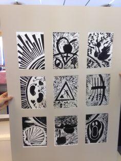 """Felles oppgave på studie. 9 deltakere - 9 bilder samlet til et hele. Oppgave """"fødsel"""". Assosiasjoner rundt temaet. Trykk i linoleum, på rispapir montert sammen. Hvert trykk måler 15*20 cm."""