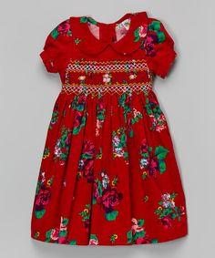 Another great find on #zulily! Red Floral Babydoll Dress & Bloomers - Infant & Toddler by sissymini #zulilyfinds