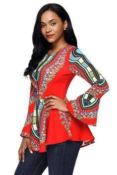 Asvivid Women Leopard Print Top Crewneck Long Sleeve Color Block Basic Casual T Shirts African Print Peplum Top, Ankara Peplum Tops, African Print Fashion, Fashion Prints, Latest Ankara Styles, African Wear, African Dress, Affordable Clothes, Simple Dresses