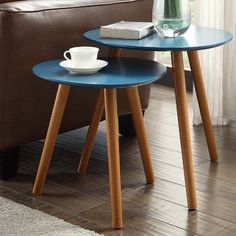 Convenience Concepts Oslo 2 Piece Nesting Tables Finish: Bl