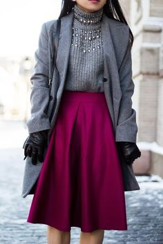 Turtleneck and fushia skirt
