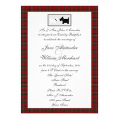 Tartan Evening Wedding Reception with Scottie Dogs Personalized Announcements