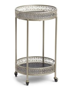 Pierced Metal Bar Cart