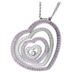 Chopard Happy Spirit Pink Sapphire Diamond White Gold Heart Necklace