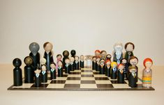 Fun idea for the HP fan. Harry Potter Peg Doll Chess Set - chess board not included