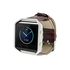 Fitbit Blaze Accessory Band Kartice Fitbit Blaze 2016 New Crocodile Fuax Leather Strap Wrist Watch band Replacement with Metal Clasp for Fitbit BlazeBrown *** Click on the image for additional details.
