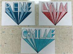 Perspective Names - Clarks Creek Art Room Name Art Projects, Art Education Projects, School Art Projects, High School Art, Middle School Art, Name Drawings, 7 Arts, Art Assignments, 6th Grade Art