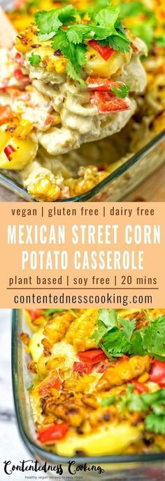 This Mexican Street Corn Potato Casserole makes an amazing vegan and gluten free lunch, dinner or even appetizer. It comes with an incredibly delicious homemade sauce and lots of flavors from roasted corn. Dairy free and super easy to make.