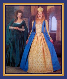 ELIZABETHAN PRINCESS GOWN-Costume Sewing Pattern-Fitted & Lined Bodice-Lady In Waiting Gown-Stunning Crown Headpiece-Uncut-Size 10-14-Rare by FarfallaDesignStudio on Etsy
