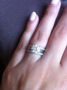 Like the idea of this one with the plain engagement ring band but two wedding bands!! Love it
