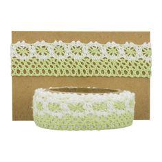 Feine Spitze, grün-weiß, 20 mm, 1 m, selbstklebend, Baumwolle