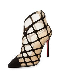 Araknene Suede & Mesh Bootie from Christian Louboutin Accessories on Gilt