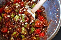 Mediterranean quinoa salad....think I might try this with the quinoa that has been sitting in my pantry for quite some time.