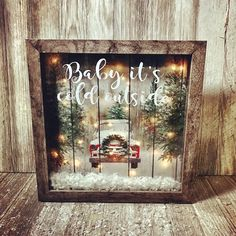 Vintage truck, vintage Christmas tree, tree farm, vintage shadow box, vintage red truck, baby it's cold outside, lighted shadow box.  https://www.etsy.com/listing/498678817/vintage-christmas-shadow-box-vintage-red