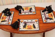 HALLOWEEN: Miniature Halloween Placemat Set with Door Mat Dollhouse. $12.00, via Etsy.