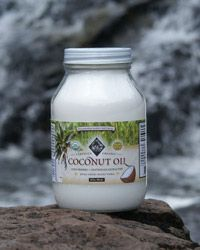 Fresh, organic coconut oil - great for cooking or just eating a spoonful.  It's a natural antibiotic and gives your metabolism a boost.