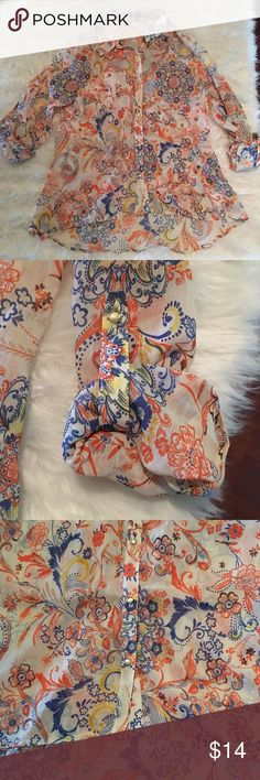 """KUT From The Kloth Stitch Fix Floral Print Blouse This Blouse is beautiful and the print is bound to make you stand out in a crowd! It is a size large and measures 25"""" in the front and 29"""" in the back (it is a high-low style) 21"""" from armpit to armpit when it is laid flat and 21"""" from shoulder to sleeve. The sleeves are able to be rolled down to long sleeve. It is 100% Polyester. If you need additional measurements please let me know and I will get them to you quickly before purchasing. Kut…"""