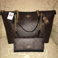 COACH bundle  100% authentic COACH. Brand new, never used ( just modeled) gorgeous ava chain tote handbag & matching wallet. Both in perfect condition with tags. BUY BOTH AND SAVE $275! Both will come packaged in original COACH box. PRINCE FIRM *** Coach Bags Totes