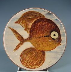 French France Vallauris Faience Pottery Fish Decor Plate Illegible Mark 20th c | eBay