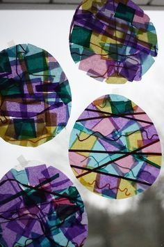 stained glass Easter eggs - happy hooligans - tissue and contact paper