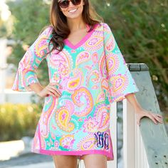 Summer Paisley Design Tunic Swimsuit Cover-up with Monogram  (http://www.thecutekiwi.com/summer-paisley-tunic-swimsuit-cover-up/)