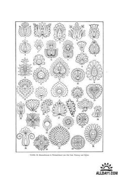 Collection of mehndi style ornamental flowers - tracery for tattoo Vector Image – Vector illustration of Plants and Animals © bariskina 29830 Embroidery Designs, Embroidery Motifs, Pattern Art, Pattern Design, Mehndi Style, Hungarian Embroidery, Ethnic Patterns, Embroidery Techniques, Chain Stitch